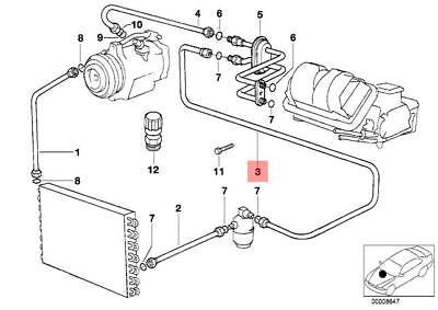 Genuine BMW E32 E34 Estate AC Dryer Evaporator Hose Line OEM 64538390620
