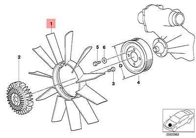 Genuine BMW E31 E32 E34 E38 E39 Radiator Cooling Fan 11 Blade OEM 11521712110