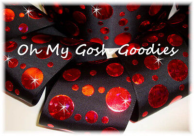 3  Crackle Dots Red Hologram Grosgrain Ribbon 4 Cheer Bow Hairbow Black