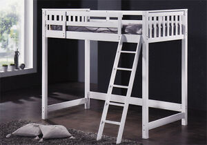 Loft bed in white color hardwood - by Bunk Beds Canada