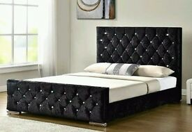BLACK CREAM AND SILVER COLORS !! DOUBLE AND KING CRUSHED VELVET DESIGNER CHESTERFIELD BED