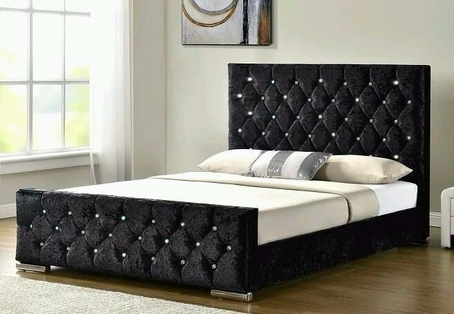 ❋❋ NEW DESIGNER ❋❋ CHESTERFIELD CRUSHED VELVET BED FRAME SILVER,BLACK & CREAM COLOR WITH SAME DAY
