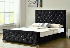 ***BLACK SILVER AND CREAM** NEW DOUBLE CRUSHED VELVET CHESTERFIELD BED WITH WIDE RANGE OF MATTRESS