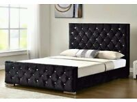 CHESTERFIELD CRUSH VELVET DOUBLE BED IN BLACK/CREAM/SILVER COLORS-SAME DAY EXPRESS DELIVERY!!