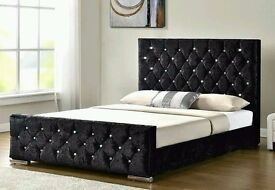 """CHEAPEST OFFER** BRAND NEW 4FT6 DOUBLE CRUSHED VELVET BED WITH 10"""" THICK ORTHOPEDIC MATTRESS"""