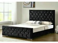 HIGH QUALITY BLACK SILVER OR CREAM CRUSHED VELVET CHESTERFIELD BED AND MATTRESS DOUBLE/KING