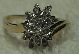 """Vintage - 10kt yellow gold """"Diamond Cluster """" Engagement Ring"""