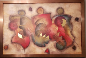 Beautiful Large Copper Framed Pressed on Canvas Abstract Print