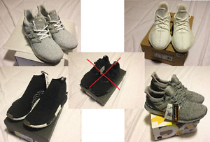 Size 10.5 Cream Yeezy, Ultraboost, NMD PK, City Sock collab