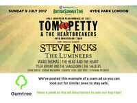 Tom Petty - Barclaycard British Summer Time - Sunday -- Read the ad description before replying!!