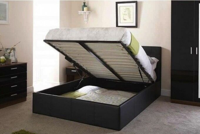 ==== BRAND NEW ==== DOUBLE LEATHER STORAGE BED FRAME WITH ROYAL ORTHOPEDIC MATTRESS