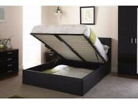 ***100% GUARANTEED PRICE** BRAND NEW DOUBLE LEATHER STORAGE BED FRAME WITH ORTHOPEDIC MATTRESS
