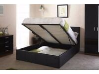 **BLACK BROWN OR WHITE FINISH** NEW DOUBLE GAS LIFT LEATHER STORAGE BED WITH DEEP QUILT MATTRESS