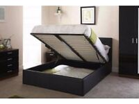 🔰🔰SAME DAY QUICK DROP🔰🔰 NEW DOUBLE LIFT UP STORAGE LEATHER BED WITH SEMI ORTHOPAEDIC MATTRESS