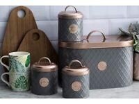 Typhoon Clay and Copper Bread Bin - Tea Coffee Sugar set I