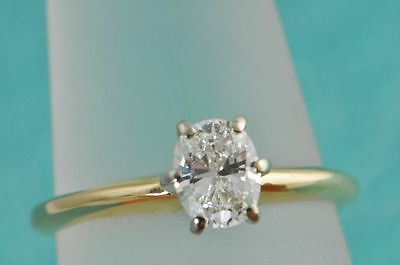 Oval Cut Diamond Solitaire 14K Yellow Gold Ring Size5.5