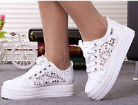 Cutouts lace canvas sho sneakers,