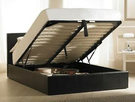 New -- Double Faux Leather Gas Lift Storage Bed --- Same Day Delivery --- Cheap Price