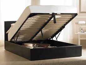 BRAND NEW DOUBLE LEATHER GAS LIFT OTTOMAN STORAGE BED ON NEW YEAR SALE