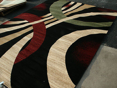 New City Brand New Contemporary Brown and Beige Modern Wavy Circles Area Rugs ()