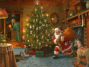 Lovely Oil Painting Portrait Santa Claus With Christmas