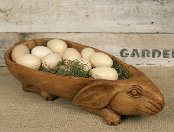 New Rustic carved RABBIT Treen bowl