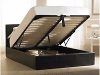 LEATHER STORAGE BED FRONT LIFT OPEN OTTOMAN DOUBLE KING BED+ SPRUNG MATTRESS SET IN BROWN BLACK