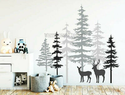 Pine Tree Forest Wall Decals - Tree Wall Decals, Forest Sticker, Deer Decals