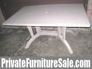 Large Plastic Patio Table with folding legs and umbrella support
