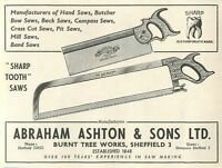 1953 Abraham Ashton Burnt Tree Works Sheffield Ad -  - ebay.co.uk