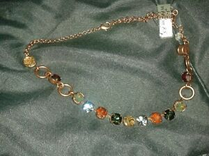 Necklace 345-511, copper, Brown / Blue