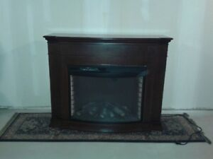 Walnut Finish Electric Fireplace with Fan