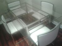 Glass Dining Room Table & 4 chairs, Glass Coffee Table