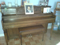 piano with bench.