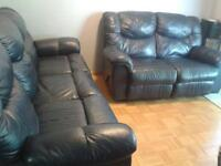 Blue leather recliner couch set: 2-seater & 3-seater