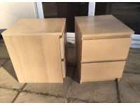 Pair of IKEA malm bedside drawers