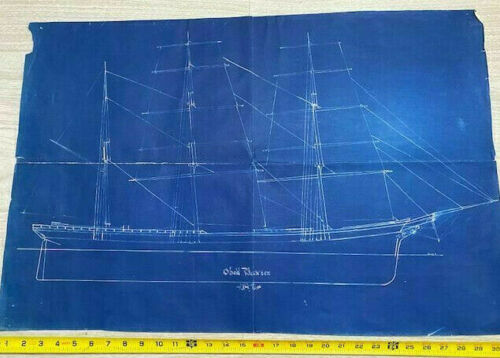 Sailing Ship Obed Baxter Vintage Blueprint Plan 1880