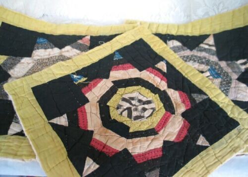 Antique Vintage Quilt Block Square Hand Stitched Star Pattern Large Repurpose