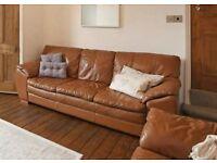 Tan Leather Sofas - 3 seat & 2 seat - High quality - Need very light refurbishment