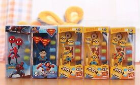 Superman minions Spider-Man earphones in ear new