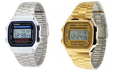 Casio Mens Digital Quartz Alarm Calendar 7Yr Battery Stainless Steel Watch A168W Casio Mens Steel Watch