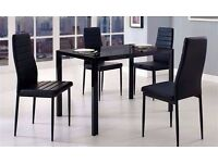 ◄◄ HIGH GLOSS ►►BRAND NEW BEAUTIFUL BLACK GLASS DINING TABLE WITH 4 PU LEATHER CHAIRS -GET IT TODAY