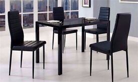 70% OFF! BRAND NEW DUBLIN GLASS DINING TABLE WITH 4 LEATHER CHAIRS-