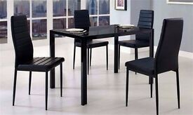 BRAND NEW DUBLIN GLASS DINING TABLE WITH 4 LEATHER CHAIRS- free delivery