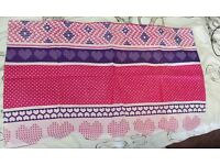 Pink and purple patterned double bed set