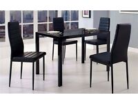 ◄◄HIGH GLOSS FINISH►►BRAND NEW BLACK GLASS DINING TABLE WITH 4 PU LEATHER CHAIRS-GET IT TODAY
