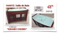 "(442-6)VANITÉ 48""/Salle de Bain /Collection""GRANBY CHERRY"" 499$"