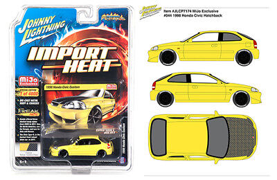 Johnny Lightning Honda Civic 1998 w/ Carbon Fiber Hood Yellow JLCP7174 1/64