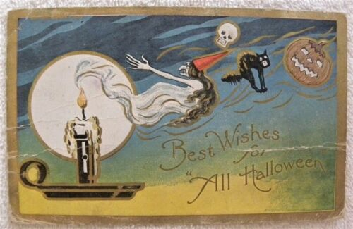 1909 Witch in Candle Flame, JOL, Skull, Black Cat All Halloween postcard, pc