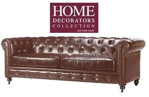 NEW* HDC GORDON TUFTED SOFA BROWN - 116688033 - BONDED LEATHER  HOME DECORATORS COLLECTION COUCH
